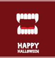 happy halloween vampire teeth card vector image
