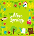 i love spring lettering postcard vector image vector image