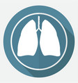 icon lungs on white circle with a long shadow vector image vector image
