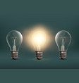 light bulbs isolated on dark background vector image vector image