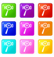magnifying glass over hello word set 9 vector image vector image