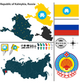 Map of Republic of Kalmykia vector image vector image