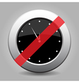 metallic banned button white last minute clock vector image vector image