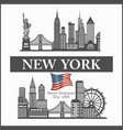 new york city skyline detailed silhouette united vector image vector image