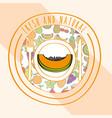 papaya fresh and natural fruits food label vector image
