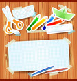school background with paper elements and blank vector image