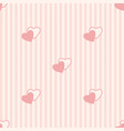 seamless vertical stripe pattern with pink hearts vector image vector image