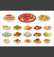set various dishes on plates tasty food vector image vector image