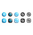 skype modern 3d and flat icons set vector image
