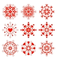 Snowflake heart view icon set Christmas vector image vector image