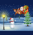 snowman in the snowing hill with santa flying over vector image vector image