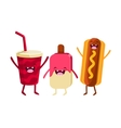 Soda Ice-cream And Hot Dog Cartoon Friends vector image vector image