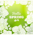 spring card with orchid flowers and blurred vector image vector image