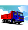 truck red-blue lorry vector image vector image