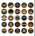 vintage labels black and yellow set vector image vector image