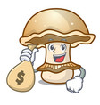with money bag portobello mushroom character vector image vector image