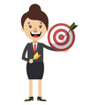 woman with target on white background vector image vector image