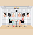 women waiting for while drying under hairdryer in vector image vector image