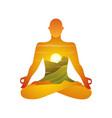 yoga practice figure silhouette in lotus asana in vector image