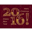 2016 Happy New Year gold glitter greeting card vector image