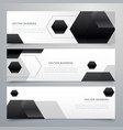 abstract hexagonal black header banners background vector image