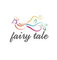 Abstract icon cute fairy tale bird vector image