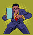 african businessman shows on smartphone mobile vector image vector image