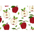 apple seamless pattern and slice with leaves