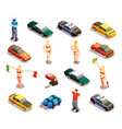automobile racing icon set vector image