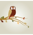 Autumn background with cartoon owl on tree branch