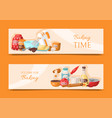 baking time set of banners kitchen utensils vector image vector image