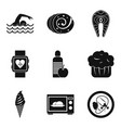 calorie icons set simple style vector image vector image