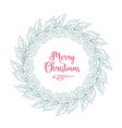 christmas holly wreath with lettering vector image vector image