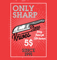 color vintage knives store banner vector image