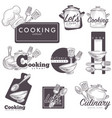 cooking culinary school logo sketch icons vector image
