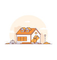 cottage house - modern thin line design style vector image vector image