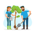 couple of gardeners farmers planting tree in the vector image