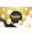 easter black white and gold background with vector image vector image