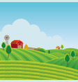 farm on hill with green field background vector image vector image