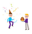 flat birthday party scenes set vector image vector image