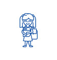 girl in school with book and backpack line icon vector image vector image