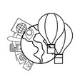 globe with hot air balloons vector image vector image