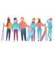 group of cute cartoon skiers and snowboarders vector image vector image
