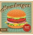Hamburger retro poster vector image vector image