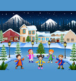 happy kid group singing in the snowy village vector image vector image