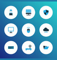 hardware icons colored set with computer mouse vector image vector image