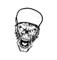 head skeleton wearing cap vector image vector image