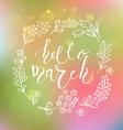 Hello March postcard card invitation flyer banner vector image vector image