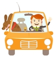 Hipster-traveler driving a car with his dog vector image