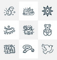 holiday icons line style set with origami paper vector image vector image